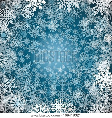 Christmas Snowflakes Background Blue Background With Snowflakes. Vector Illustration