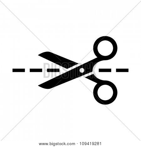 Scissors with cut lines isolated on white