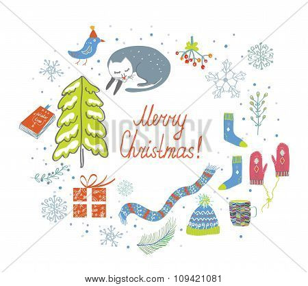 Christmas Card With Knitted Things, Cat, Snow, Tree