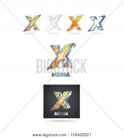 Letter X Logo 3D Icon