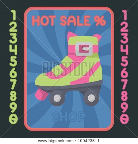 Rollerskate Boot Flat Design Icon. Vector Hot Sale Label.