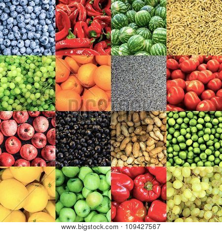Soft Color Mix Collage Of 16 In 1 Food Background: Tomatoes, Blueberry, Apples, Pasta, Peas, Chili P
