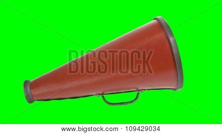 Vintage megaphone with chroma key green screen background.