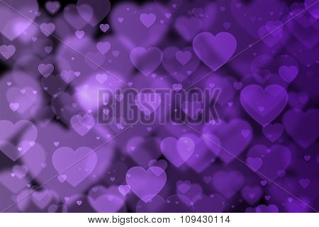 Purple Hearts Background With Bokeh Effect