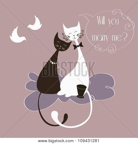 Vector Illustration with cute lovers cats