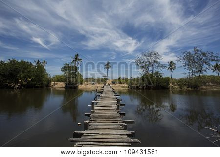 Calm and beautiful day at Old bridge at Pulau Kerengga village