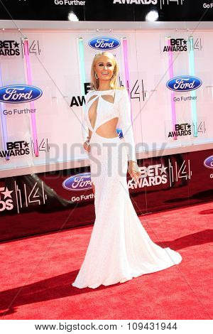 LOS ANGELES - JUN 29:  Paris Hilton at the 2014 BET Awards - Arrivals at the Nokia Theater at LA Live on June 29, 2014 in Los Angeles, CA