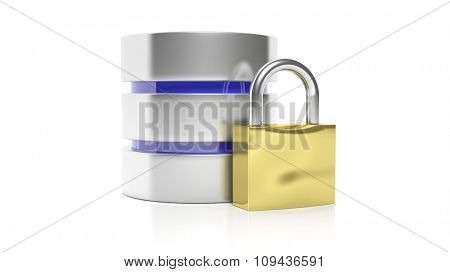 Database and lock icons, isolated on white background. poster