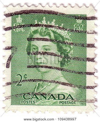 Canada - Circa 1953: Stamp Printed By Canada, Shows Elizabeth Ii, Circa 1953