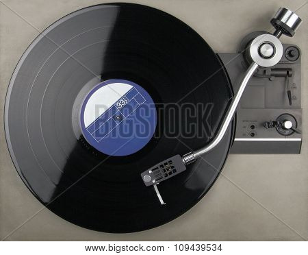 Closeup of an old vintage record player