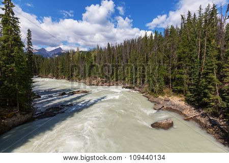 Scenic views of the Athabasca River ,Jasper National Park, Alberta, Canada