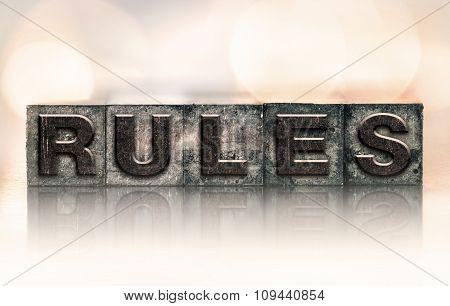 Rules Concept Vintage Letterpress Type