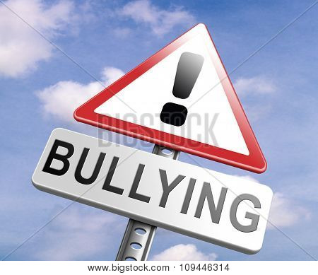 stop bullying no harassment or threat from bullies at school or at work, stopping an online internet bully  poster