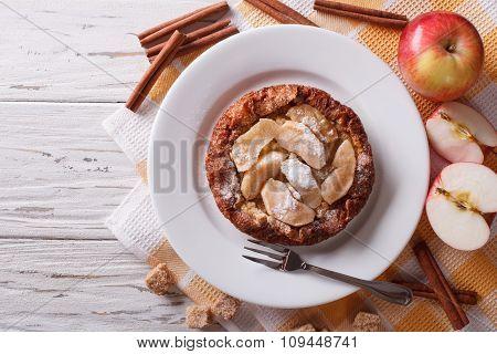 Dutch Baby Pancake With Apple Closeup.  Horizontal Top View