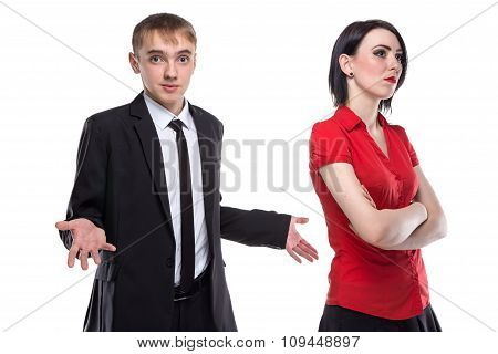 Woman and man in suit misunderstanding