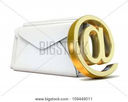 Envelopes with golden e-mail sign. 3D render