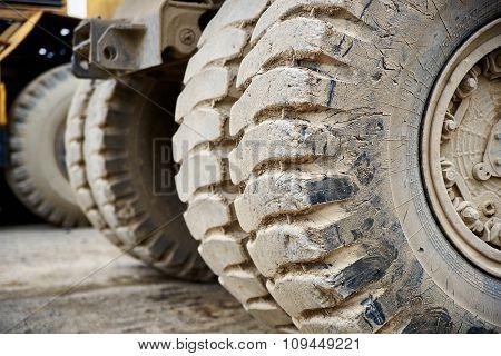 Haul Dump Truck Tire Close Up
