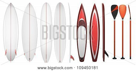 Collection of equipment for surfing isolated on white