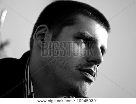 Black And White Portrait Of Angry Dangerous Pensive Man