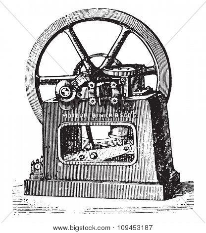Benier longitudinal view of the engine, vintage engraved illustration. Industrial encyclopedia E.-O. Lami - 1875.