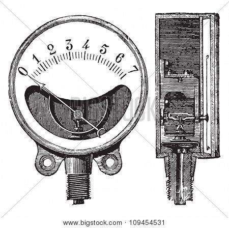 Metal gauge, Ducomet system, Front and cut, vintage engraved illustration. Industrial encyclopedia E.-O. Lami - 1875.