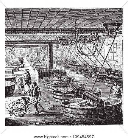 Workshop tanning with sumac, vintage engraved illustration. Industrial encyclopedia E.-O. Lami - 1875.