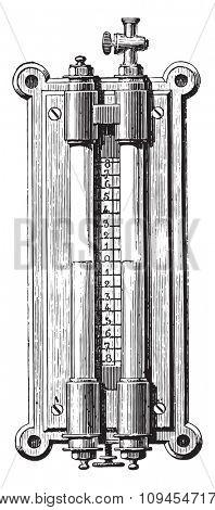 Gasworks Gauge barrels, capacitor, scrubbers, etc, vintage engraved illustration. Industrial encyclopedia E.-O. Lami - 1875.