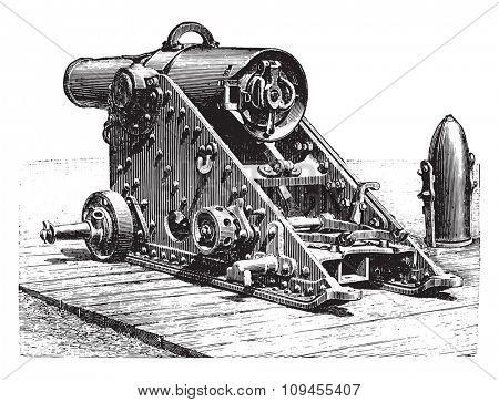 Mortar striped 220 millimeters, model 188, on lookout, vintage engraved illustration. Industrial encyclopedia E.-O. Lami - 1875.