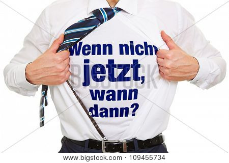 Motivation in German for business success as concept on shirt