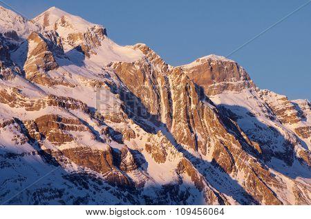 Monte Perdido (3355 m.) and Cilindro de Marbor�© (3325 m.), Pineta Valley, Ordesa and Monte Perdido National Park. Pyrenees, Huesca, Aragon, Spain.