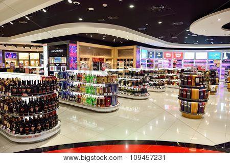 DUBAI, UAE - NOVEMBER 21, 2015: interior of Dubai Duty Free. Dubai Duty Free is the largest single airport retail operation in the world