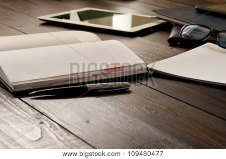 Open Notebook On The Office Table