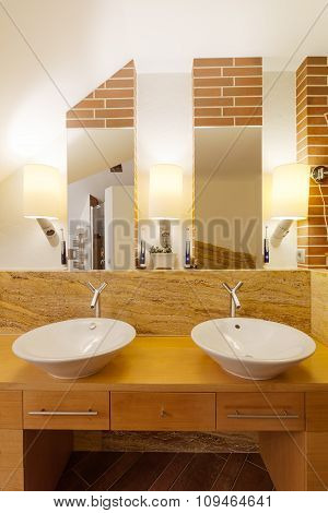 Two Washbasins In Elegant Bathroom