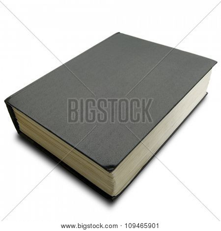 a thick hard cover black book on white - with clipping path