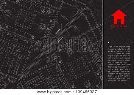 Vector technical blueprint of mechanism. Engineer illustration.  Architect background poster