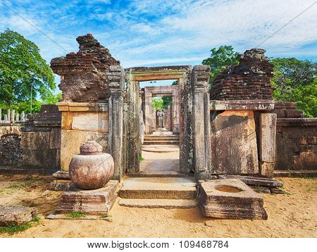 The Polonnaruwa Hetadage the Tooth Relic Temple in the world heritage city Polonnaruwa, Sri Lanka.