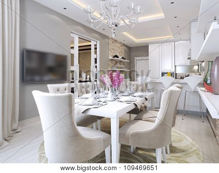 Kitchen And Dining Room Neoclassical Style