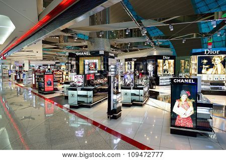 DUBAI - NOVEMBER 16, 2015: interior of Dubai Duty Free Level. Dubai Duty Free is the largest single airport retail operation in the world