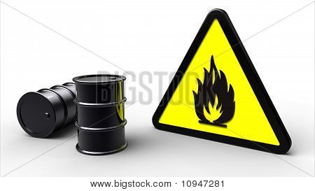 Flammable Symbol Next To Chemical Barrels
