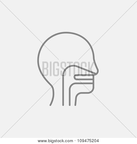 Human head with ear, nose, throat system line icon for web, mobile and infographics. Vector dark grey icon isolated on light grey background.
