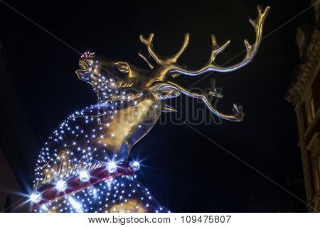 Christmas Reindeer At Covent Garden In London