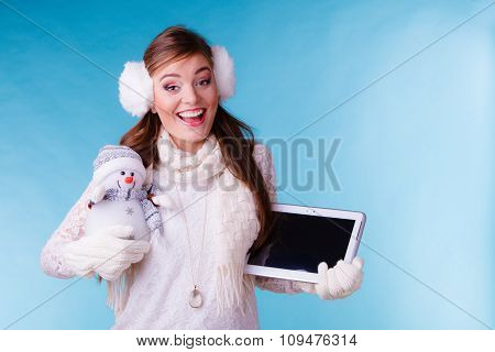 Woman Girl With Tablet And Little Snowman. Winter.