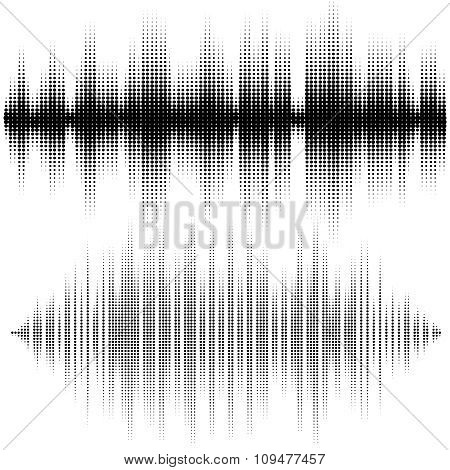 Halftone Vector Elements. Vector Sound Waves. Music Waveform Background. You Can Use In Club, Radio,