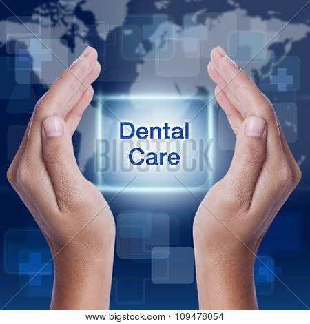 dental care word on screen background. medical concept
