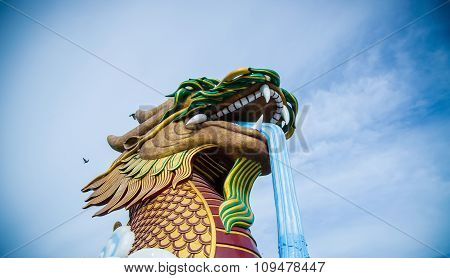 Dragon Statue On Sky Background
