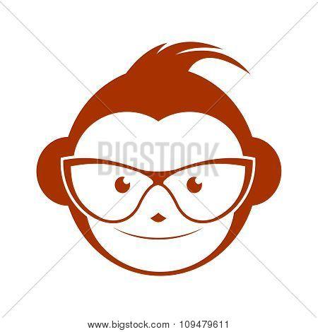 Vector Cool Geek Monkey