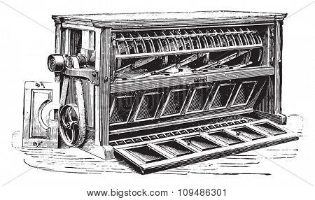 Luther centrifugal sifter, vintage engraved illustration. Industrial encyclopedia E.-O. Lami - 1875.