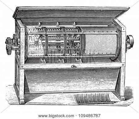 Centrifugal sifter H. Seck, vintage engraved illustration. Industrial encyclopedia E.-O. Lami - 1875.