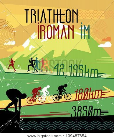 Retro race print. Retro triathlon poster.