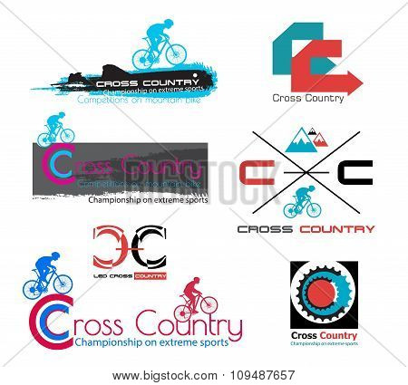 Cross country bike logo isolated. Mountain bike symbol.
